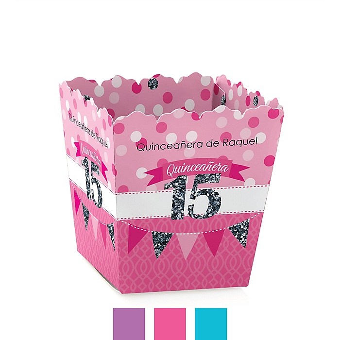 Quinceanera - Sweet 15 - Party Mini Favor Boxes - Personalized Birthday Party Treat Candy Boxes - Set of 12