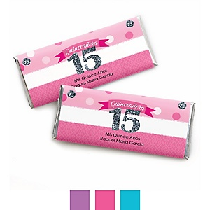 Quinceanera - Sweet 15 - Personalized Candy Bar Wrappers Birthday Party Favors - Set of 24
