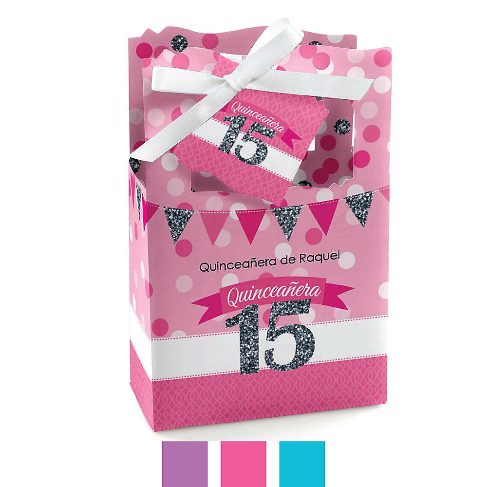 Quinceanera Sweet 15 Personalized Birthday Party Favor Boxes Set Of 12