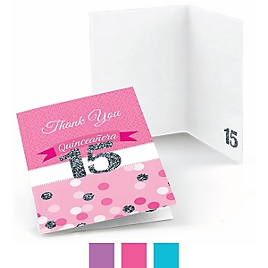 Quinceanera - Sweet 15 - Birthday Party Thank You Cards - 8 ct