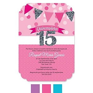 Quinceanera - Sweet 15 - Birthday Party Invitations - Set of 12