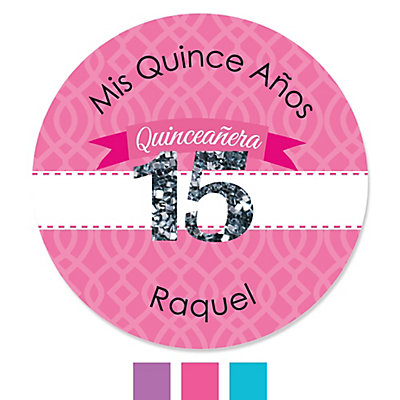 quinceanera personalized birthday party sticker labels 24 ct