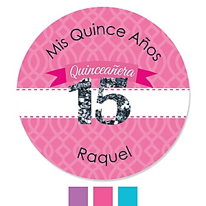 Quinceanera - Sweet 15 - Personalized Birthday Party Sticker Labels - 24 ct