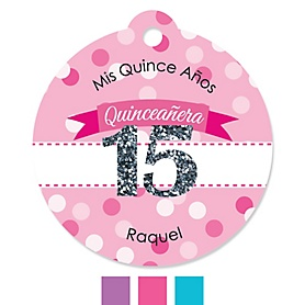 Quinceanera - Sweet 15 - Round Personalized Birthday Party Tags - 20 ct