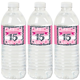 Quinceañera Pink - Sweet 15 - Birthday Party Water Bottle Sticker Labels - Set of 20