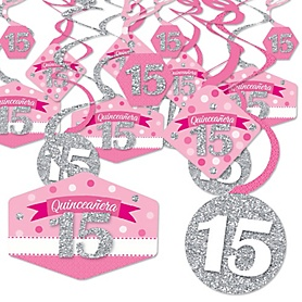Quinceanera Pink - Sweet 15 - Birthday Party Hanging Decor - Party Decoration Swirls - Set of 40
