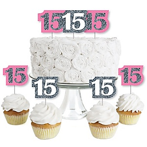 Quinceanera Pink - Sweet 15 - Dessert Cupcake Toppers - Birthday Party Clear Treat Picks - Set of 24