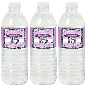 Quinceañera Purple - Sweet 15 - Birthday Party Water Bottle Sticker Labels - Set of 20