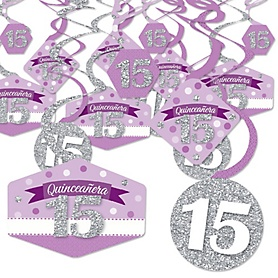 Quinceanera Purple - Sweet 15 - Birthday Party Hanging Decor - Party Decoration Swirls - Set of 40