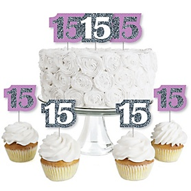 Quinceanera Purple - Sweet 15 - Dessert Cupcake Toppers - Birthday Party Clear Treat Picks - Set of 24