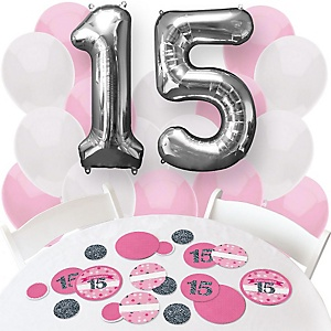 Quinceanera - Sweet 15 Pink - Confetti and Balloon Birthday Party Decorations - Combo Kit
