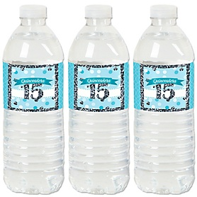Quinceañera Teal - Sweet 15 - Birthday Party Water Bottle Sticker Labels - Set of 20