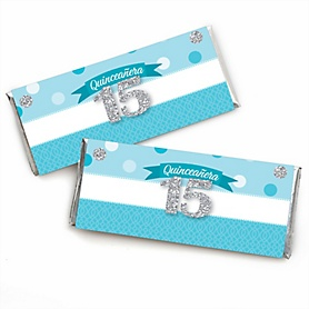 Quinceanera Teal - Sweet 15 - Candy Bar Wrapper Birthday Party Favors - Set of 24