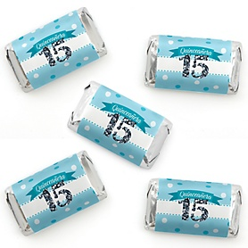 Quinceañera Teal - Sweet 15 - Mini Candy Bar Wrapper Stickers - Birthday Party Small Favors - 40 Count