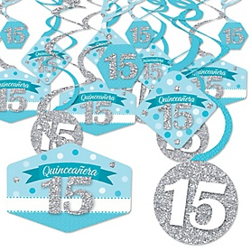 Quinceanera Teal - Sweet 15 - Birthday Party Hanging Decor - Party Decoration Swirls - Set of 40