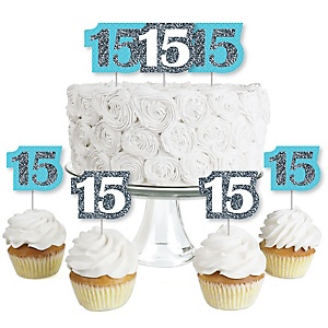 Quinceanera Teal - Sweet 15 - Dessert Cupcake Toppers - Birthday Party Clear Treat Picks - Set of 24