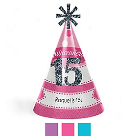 Quinceanera - Sweet 15 - Personalized Cone Happy Birthday Party Hats for Kids and Adults - Set of 8 (Standard Size)
