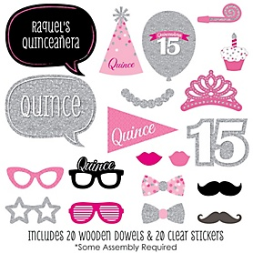 Quinceanera - Sweet 15 - 20 Piece Birthday Party Photo Booth Props Kit