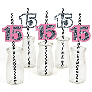 Quinceanera - Sweet 15 - Paper Straw Decor - Birthday Party Striped Decorative Straws - Set of 24