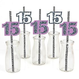 Quinceanera - Sweet 15 - Purple - Paper Straw Decor - Birthday Party Striped Decorative Straws - Set of 24