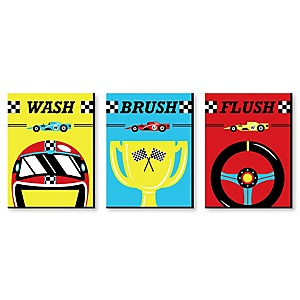 Let's Go Racing - Racecar - Kids Bathroom Rules Wall Art - 7.5 x 10 inches - Set of 3 Signs - Wash, Brush, Flush