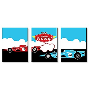 Let's Go Racing - Racecar - Nursery Wall Art, Race Car Kids Room Decor and Game Room Home Decorations - 7.5 x 10 inches - Set of 3 Prints
