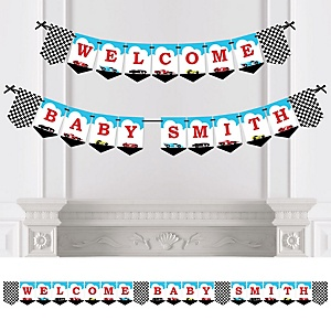 Let's Go Racing - Racecar - Personalized Race Car Birthday Party or Baby Shower Bunting Banner & Decorations