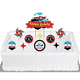 Let's Go Racing - Racecar - Race Car Birthday Party or Baby Shower Cake Decorating Kit - Cake Topper Set - 11 Pieces