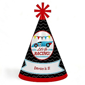 Let's Go Racing - Racecar - Personalized Cone Happy Birthday Party Hats for Kids and Adults - Set of 8 (Standard Size)