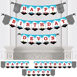 Let's Go Racing - Racecar - Personalized Race Car Birthday Party Bunting Banner & Decorations