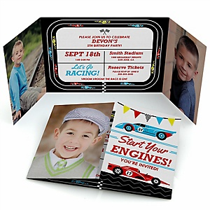 Let's Go Racing - Racecar - Personalized Birthday Party Photo Invitations - Set of 12
