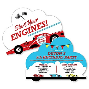 Let's Go Racing - Racecar - Shaped Birthday Party Invitations - Set of 12