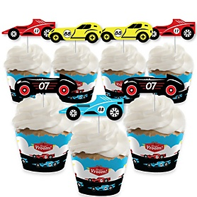Let's Go Racing - Racecar - Cupcake Decoration - Race Car Birthday Party or Baby Shower Cupcake Wrappers and Treat Picks Kit - Set of 24