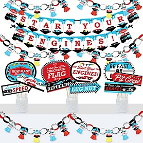 Let's Go Racing - Racecar - Banner and Photo Booth Decorations - Race Car Birthday Party or Baby Shower Supplies Kit - Doterrific Bundle