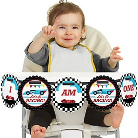 Let's Go Racing - Racecar 1st Birthday - I am One - First Birthday High Chair Birthday Banner