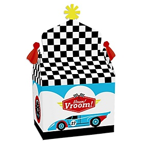 Let's Go Racing - Racecar - Treat Box Party Favors - Race Car Birthday Party or Baby Shower Goodie Gable Boxes - Set of 12