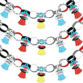 Let's Go Racing - Racecar - 90 Chain Links and 30 Paper Tassels Decoration Kit - Race Car Birthday Party or Baby Shower Paper Chains Garland - 21 feet