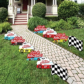 Let's Go Racing - Racecar - Lawn Decorations - Outdoor Race Car Birthday Party or Baby Shower Yard Decorations - 10 Piece