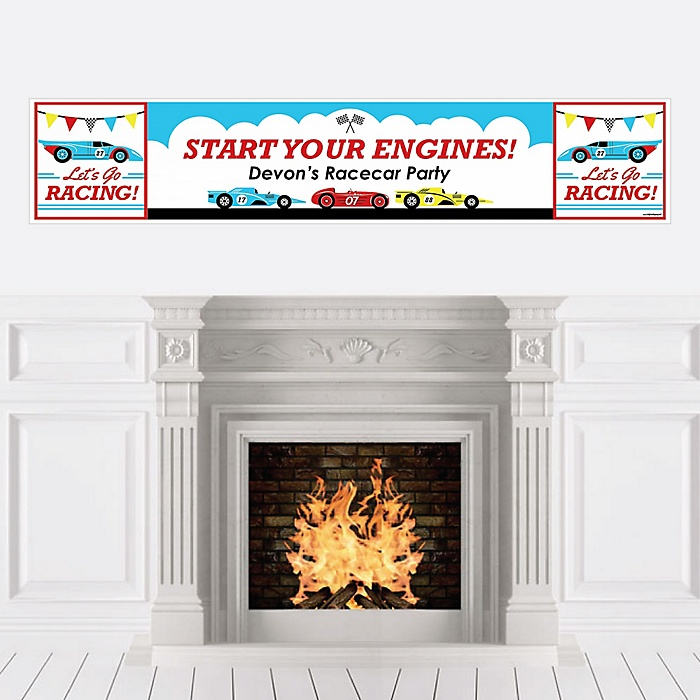 Let's Go Racing - Racecar - Personalized Race Car Birthday Party or Baby Shower Banner