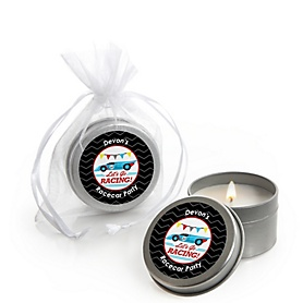Let's Go Racing - Racecar - Personalized Race Car Birthday Party or Baby Shower Candle Tin Favors - Set of 12