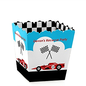 Let's Go Racing - Racecar - Party Mini Favor Boxes - Personalized Race Car Birthday Party or Baby Shower Treat Candy Boxes - Set of 12