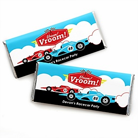 Let's Go Racing - Racecar - Personalized Candy Bar Wrapper Race Car Birthday Party or Baby Shower Favors - Set of 24