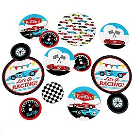 Let's Go Racing - Racecar - Race Car Birthday Party or Baby Shower Giant Circle Confetti - Party Decorations - Large Confetti 27 Count