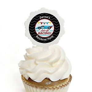 Let's Go Racing - Racecar - Cupcake Picks with Personalized Stickers - Race Car Birthday Party or Baby Shower Cupcake Toppers - 12 ct