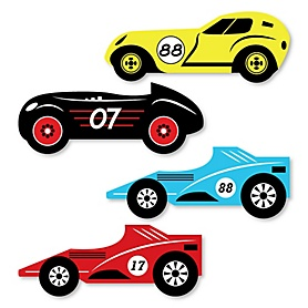 Let's Go Racing - Racecar - DIY Shaped Race Car Birthday Party or Baby Shower Cut-Outs - 24 ct
