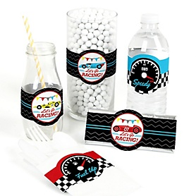 Let's Go Racing - Racecar - DIY Party Supplies - Race Car Birthday Party or Baby Shower DIY Wrapper Favors & Decorations - Set of 15