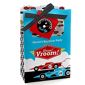 Let's Go Racing - Racecar - Personalized Race Car Birthday Party or Baby Shower Favor Boxes - Set of 12