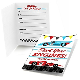 Let's Go Racing - Racecar - Fill In Race Car Birthday Party or Baby Shower Invitations - 8 ct