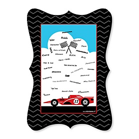 Let's Go Racing - Racecar - Unique Alternative Guest Book - Race Car Birthday Party or Baby Shower Signature Mat