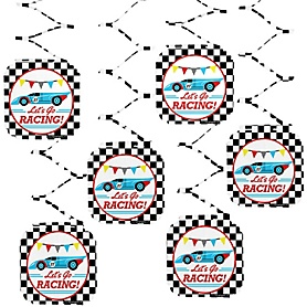 Let's Go Racing - Racecar - Race Car Birthday Party or Baby Shower Hanging Decorations - 6 ct